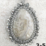 Crazy Lace Agate Macrame Necklace - New Earth Gifts