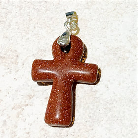Goldstone Ankh Cross Pendant - New Earth Gifts