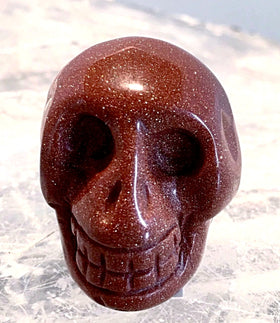 Gemstone Goldstone Skull 40mm - New Earth Gifts