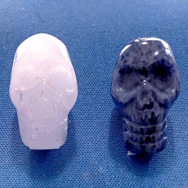 Gemstone Skulls Pair Rose Quartz - Sodalite 20mm - New Earth Gifts