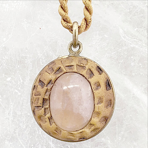 Rose Quartz Gemstone and Clay Pendant -New Earth Gifts