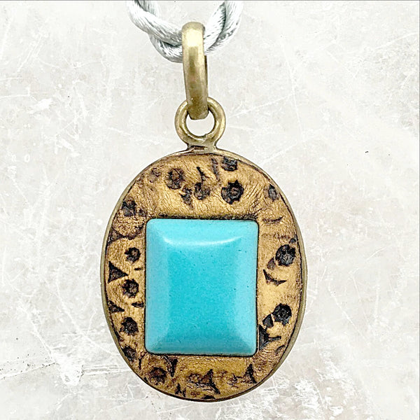 Turquoise Howlite Stone Embedded in Clay Pendant - New Earth Gifts
