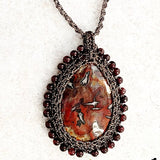 Jasper Pendant with Macrame Bezel and Cord - New Earth Gifts