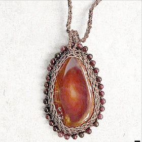 Agate Slice Pendant on Macrame Cord - New Earth Gifts