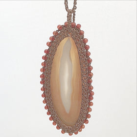 Agate Slice Pendant with Macrame Bezel and Cord - New Earth Gifts