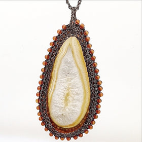 Agate Slice Teardrop Pendant with Macrame Bezel and Cord - New Earth Gifts
