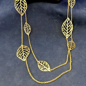 Gold Double Chain Leaf Necklace - New Earth Gifts and Beads