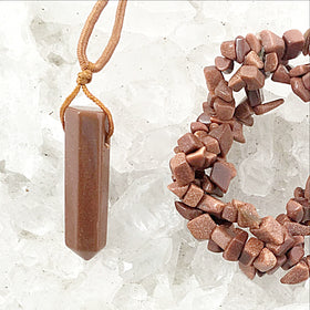 Goldstone Pendant and Chip Bracelet Set - New Earth Gifts