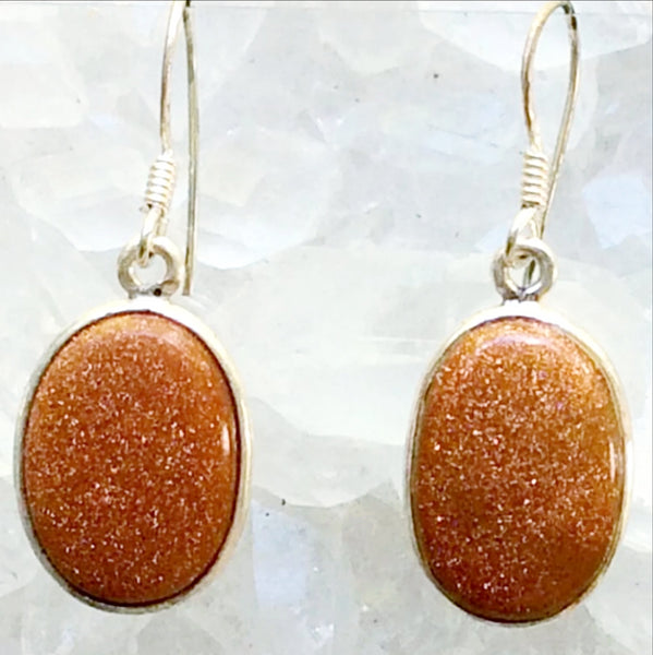 Goldstone Sterling Silver Oval Earrings - New Earth Gifts