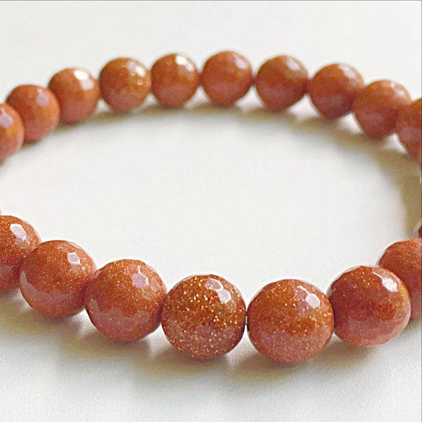 Goldstone Power Bracelet for Revitalizing Energy-Faceted 8mm - New Earth Gifts