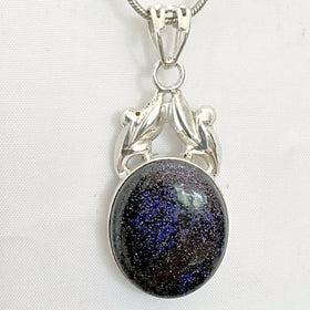 Sterling Blue Goldstone Pendant in Victorian Style - New Earth Gifts and Beads