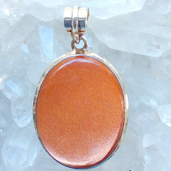 Sterling Goldstone Large Oval Pendant -New Earth Gifts