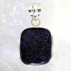 Sterling Blue Goldstone Rounded Square Pendant-New Earth Gifts