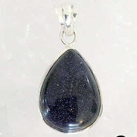 Sterling Blue Goldstone Teardrop Pendant - New Earth Gifts