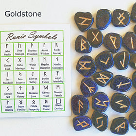 Blue Goldstone Rune Stones | New Earth Gifts