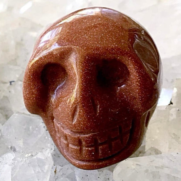 Goldstone Gemstone Skull 25mm - New Earth Gifts