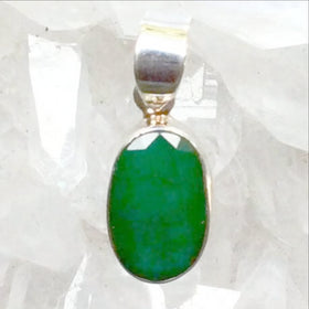 Sterling Green Agate Faceted Pendant - New Earth Gifts
