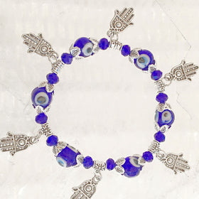 Evil Eye Beaded Bracelet with 6 Hamsa Charms | New Earth Gifts