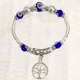 Evil Eye Beaded Bracelet with Tree of Life Charm - New Earth Gifts
