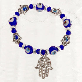 Evil Eye Beaded Bracelet with Hamsa Charm - New Earth Gifts
