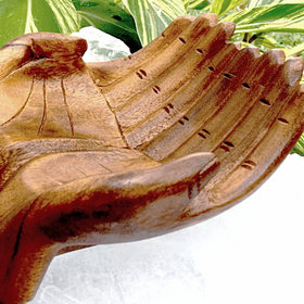 Wood Carved Hands Bowl - New Earth Gifts