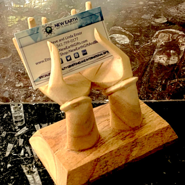 Wood Hands - Business Card Holder, Ring Display | New Earth Gifts