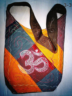 Cross Body Shoulder Bag - Embroidered Om Symbol - New Earth Gifts