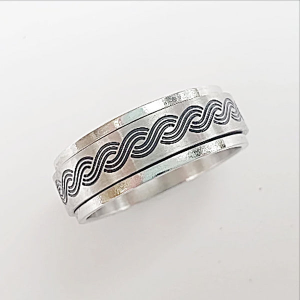Stainless Steel Spinner Ring-Helix Pattern - New Earth Gifts
