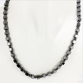 Hematite Necklace 4mm Round and Cube Beads - New Earth Gifts