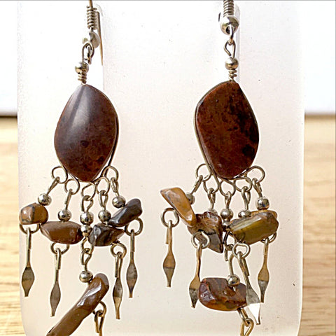 Mahogany Obsidian Boho Style Gemstone Earrings