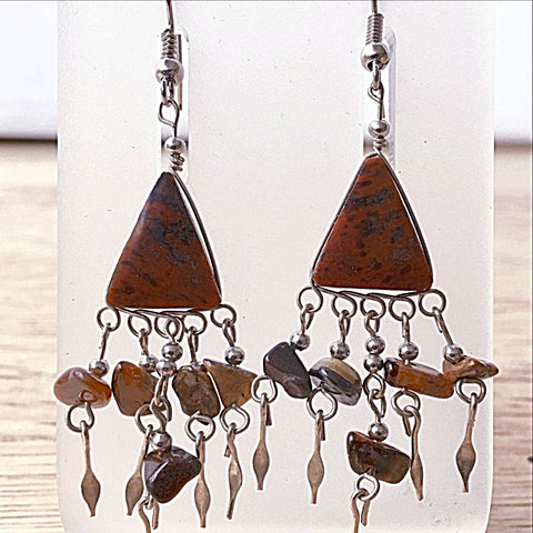 Mahogany Obsidian and Tiger Eye Boho Style Gemstone Earrings