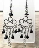 Black Onyx and Quartz Point Boho Style Gemstone Earrings-New Earth Gifts