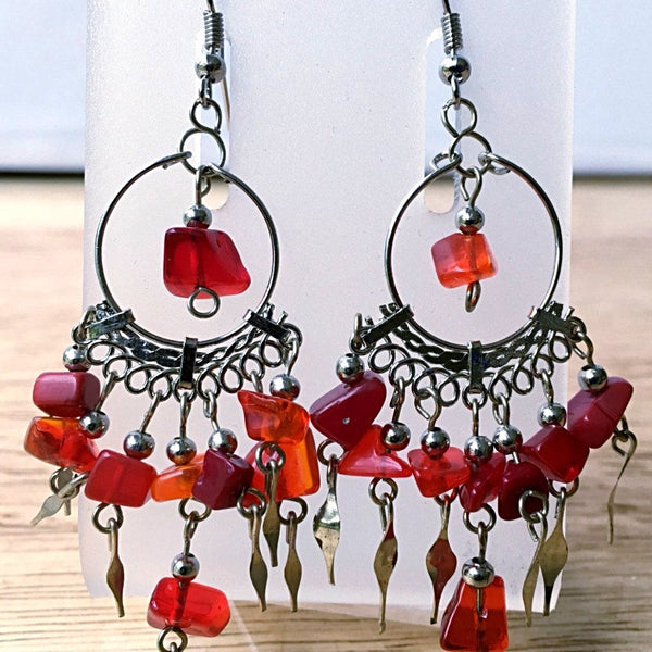 Red Sea Glass Boho Style Earrings - New Earth Gifts