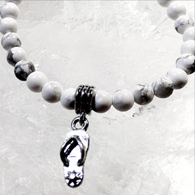 Howlite Bracelet with Flip Flop Charm - New Earth Gifts