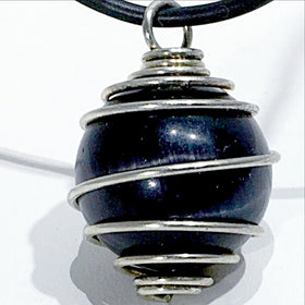 Black Fiber Optic Sphere Pendant | New Earth Gifts