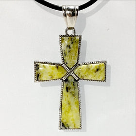 Yellow Turquoise Cross Pendant | New Earth Gifts