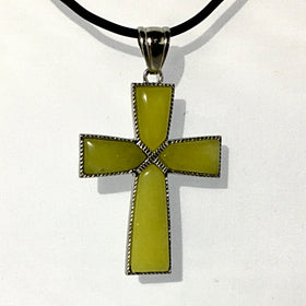 Olive Jade Cross Pendant | New Earth Gifts