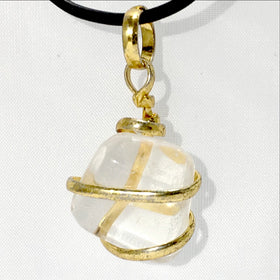 Crystal Quartz Gold Spiral Wrap Pendant  | New Earth Gift