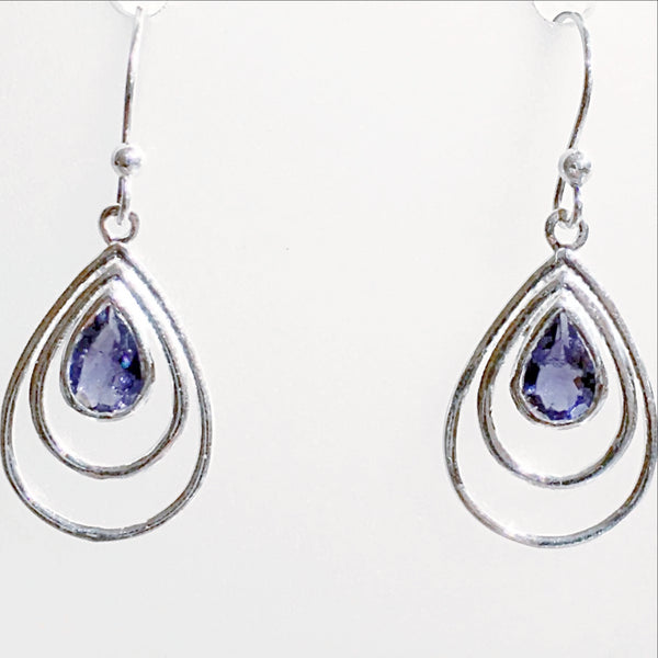 Iolite Faceted Sterling Tear Drop Earrings - New Earth Gifts