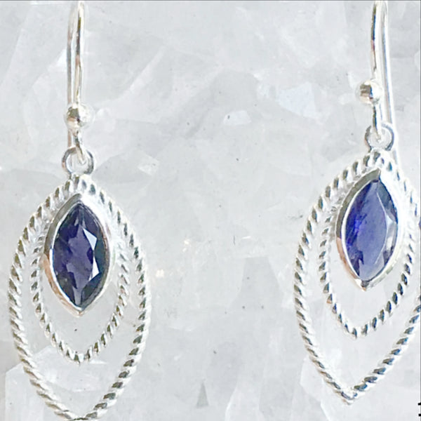 Iolite Sterling Silver Earrings Triple Marquis Styling - New Earth Gifts