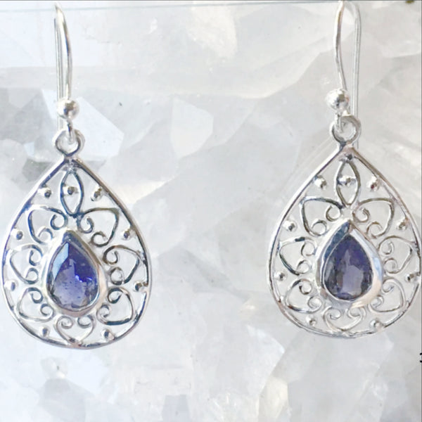 Iolite Sterling Silver Earrings Victorian Style - New Earth Gifts