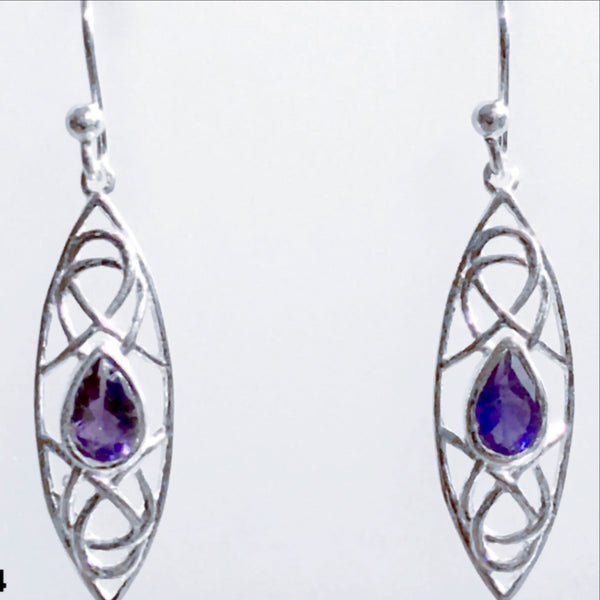 Iolite Faceted Sterling Abstract Style Earrings - New Earth Gifts