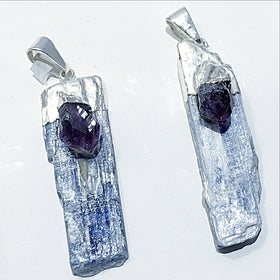 Blue Kyanite Blade Pendant-Amethyst Accent | New Earth Gifts