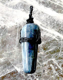 Blue Kyanite Black Wire Wrap Polished Pendant | New Earth Gifts