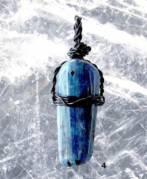 Blue Kyanite Polish Black Wire Pendant | New Earth Gifts