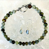 Sterling Labradorite Beaded Bracelet and Earring Set - New Earth Gifts