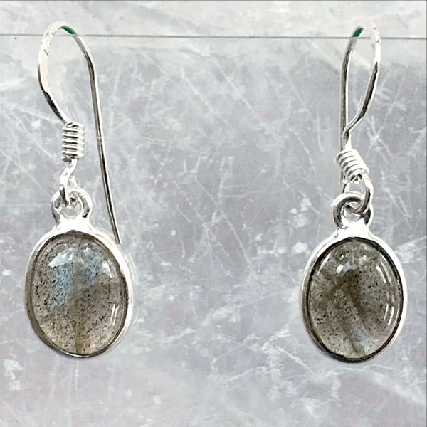 Sterling Labradorite Oval Drop Earrings - New Earth Gifts