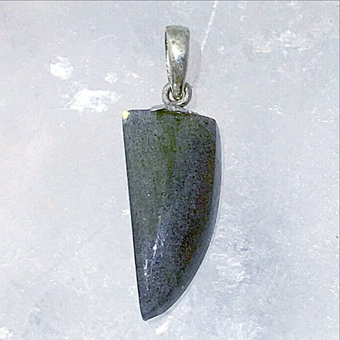 "Labradorite Horn Style Pendant with Sterling Bail is a dainty 1"" x .5"" and would look best around the neck with a 16"" chain. A magical little statement pendant! - New Earth Gifts"