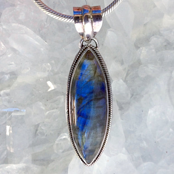 "Labradorite Marquis Pendant in a ""Beaded"" Bezel 
