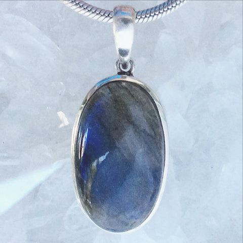 "Labradorite Oval Sterling Silver Pendants-Several Choices. Hauntingly beautiful Labradorites - Check out their mysterious allure! Traditional setting 1.75"" long - New Earth Gifts"